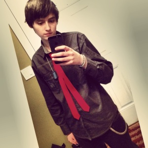 Hunter in shirt and tie selfie